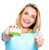 7953480-happy-woman-showing-thumbs-up-with-credit-card-on-white-bacground 1